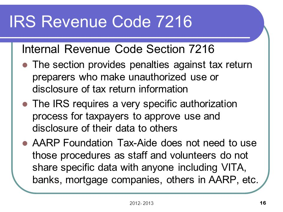 IRS Revenue Code 7216 Internal Revenue Code Section 7216