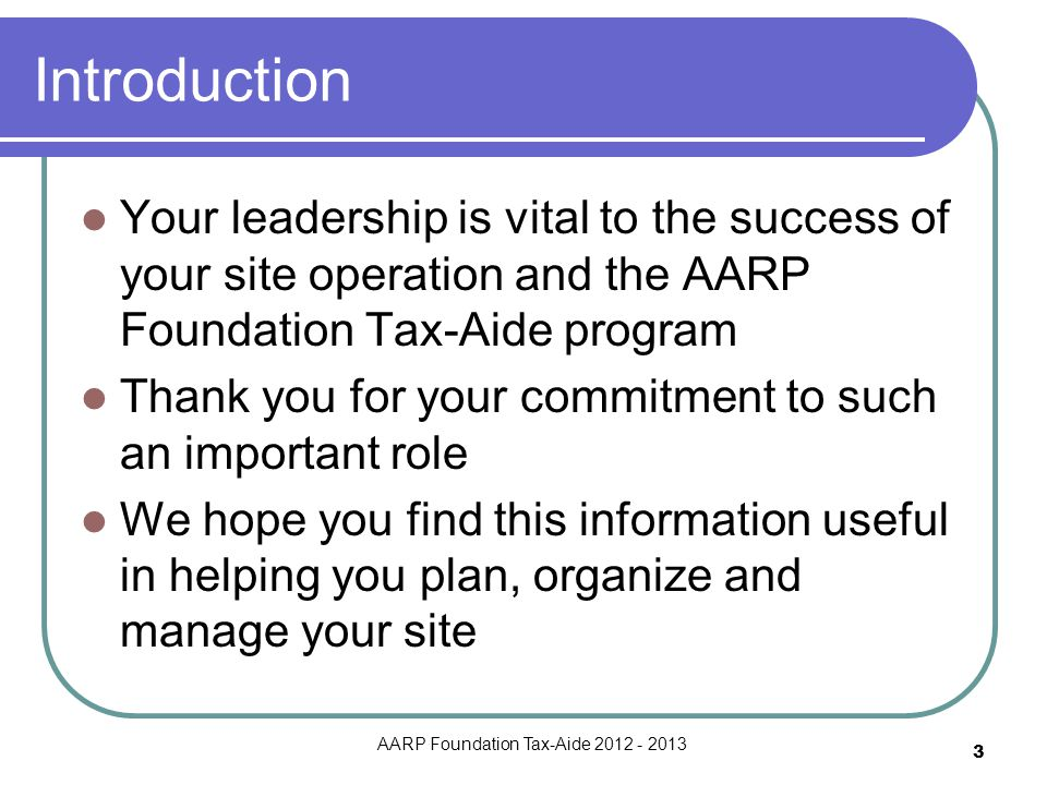 AARP Foundation Tax-Aide 2012 - 2013