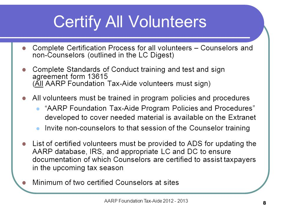 Certify All Volunteers