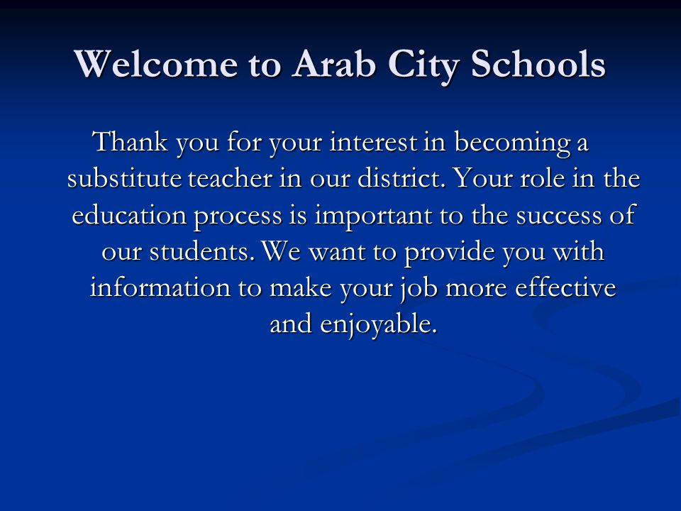 Welcome to Arab City Schools