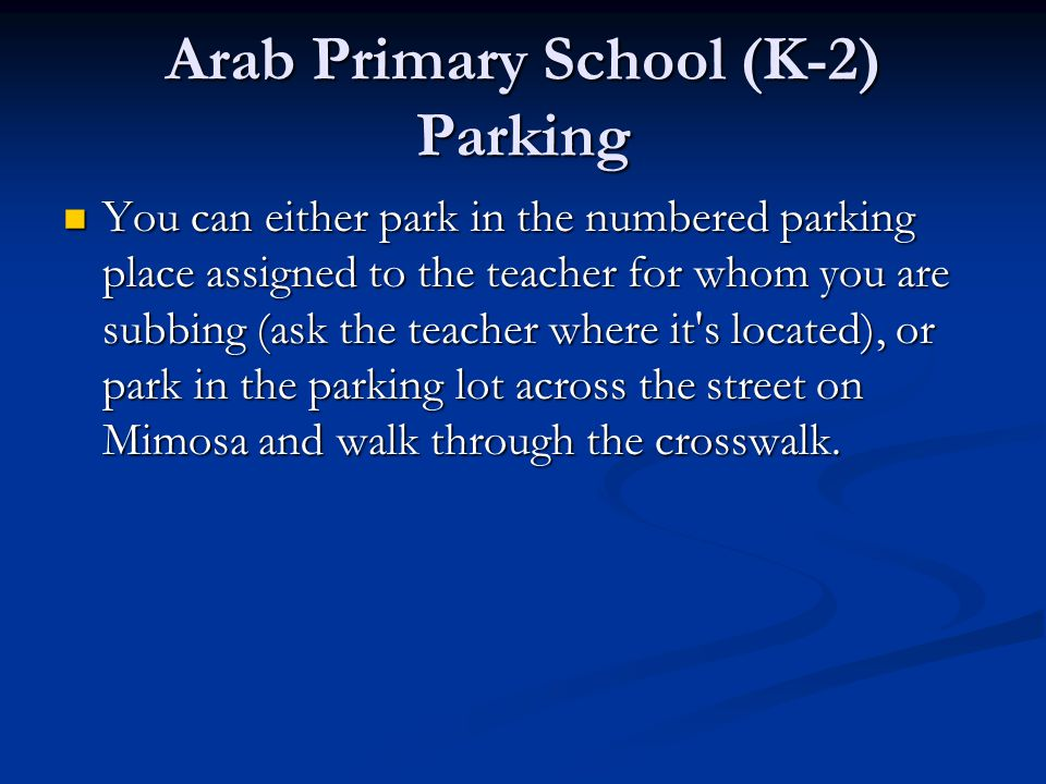 Arab Primary School (K-2) Parking
