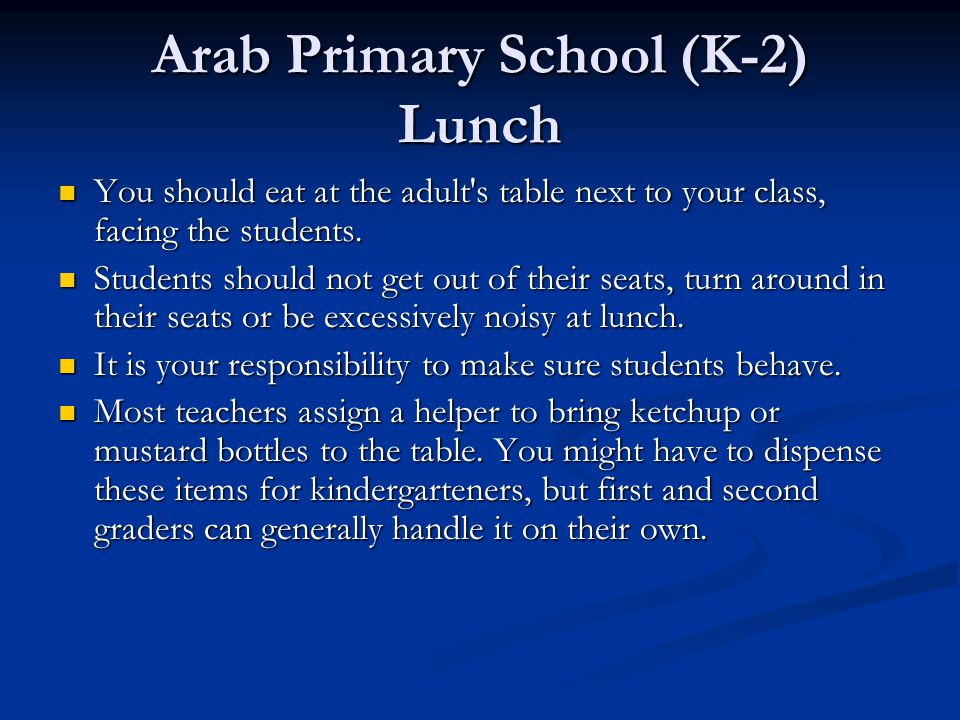 Arab Primary School (K-2) Lunch