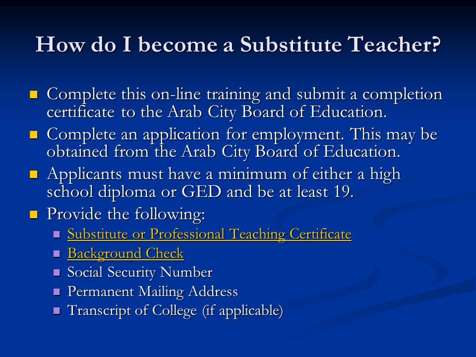 How do I become a Substitute Teacher