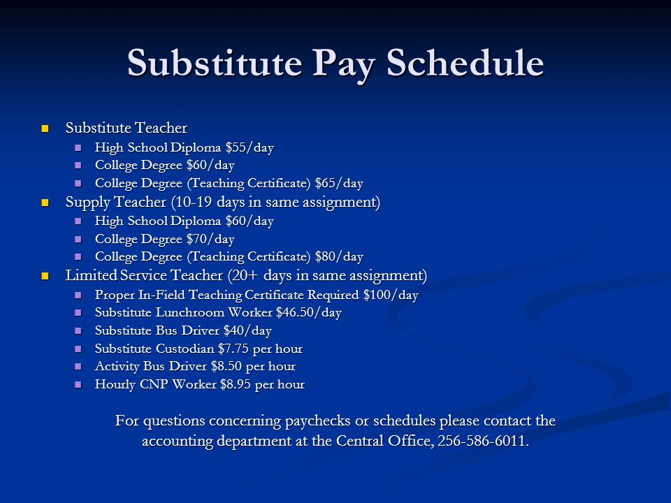 Substitute Pay Schedule