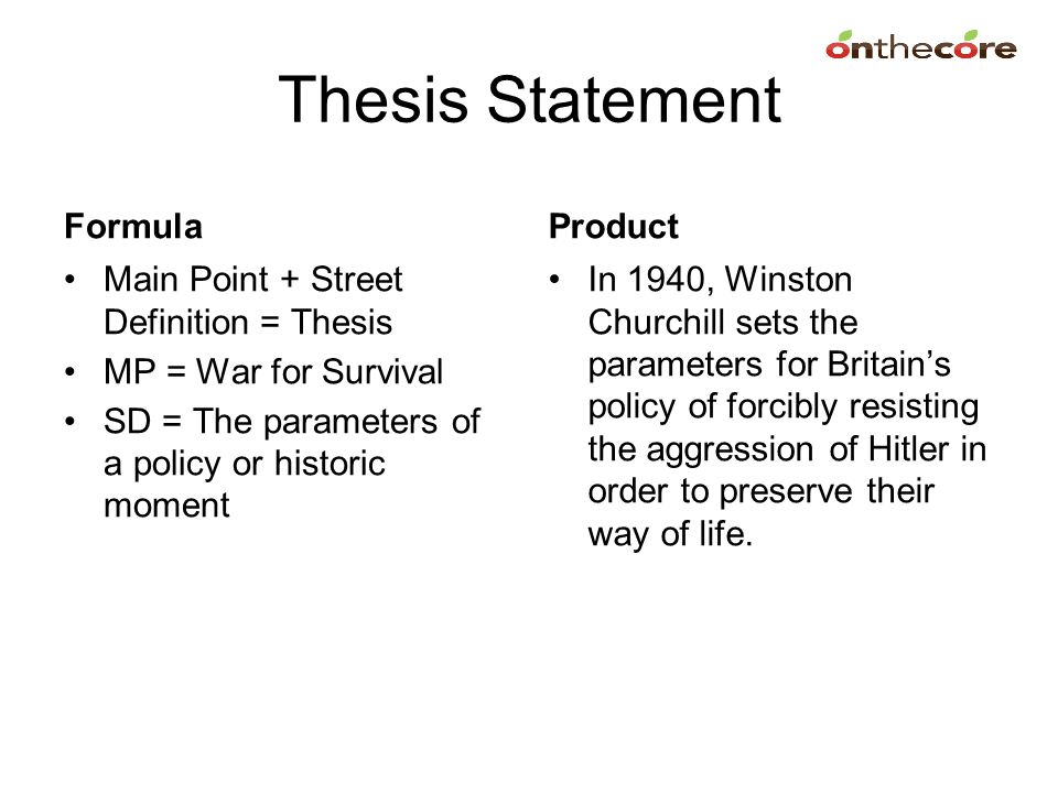 Thesis Statement Formula Product