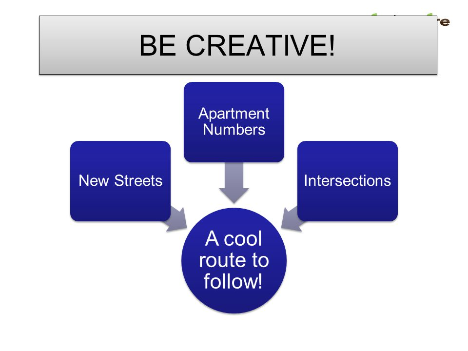 BE CREATIVE! A cool route to follow! New Streets Apartment Numbers