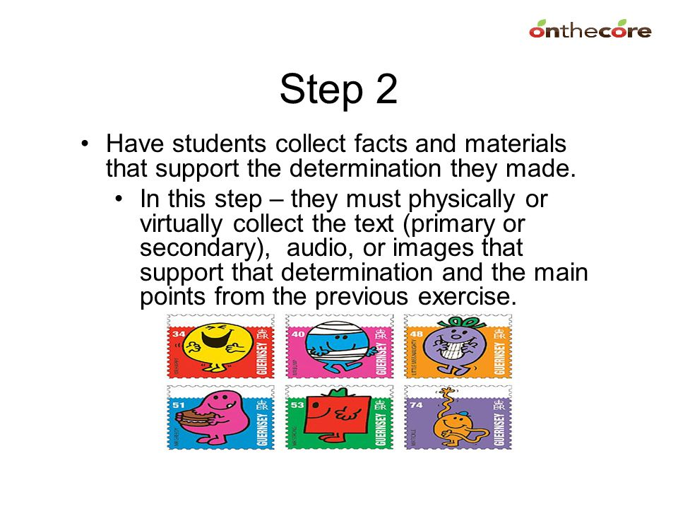 Step 2 Have students collect facts and materials that support the determination they made.