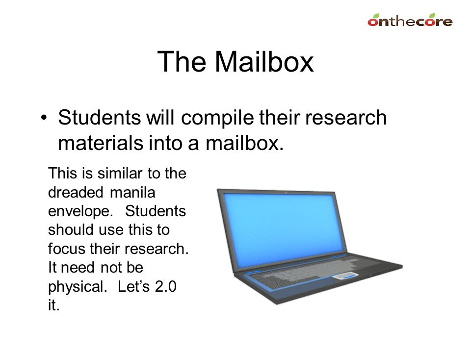 The Mailbox Students will compile their research materials into a mailbox.
