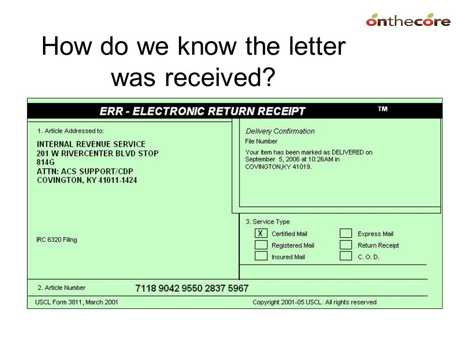 How do we know the letter was received