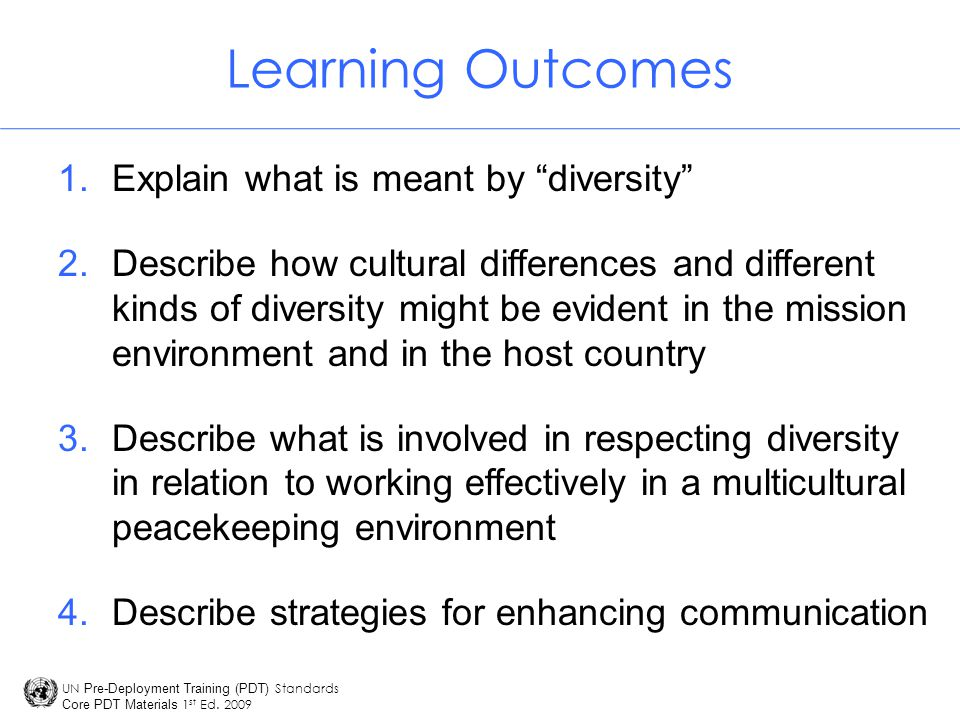 Learning Outcomes Explain what is meant by diversity