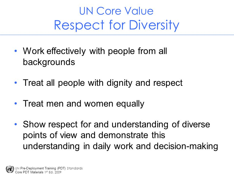 UN Core Value Respect for Diversity