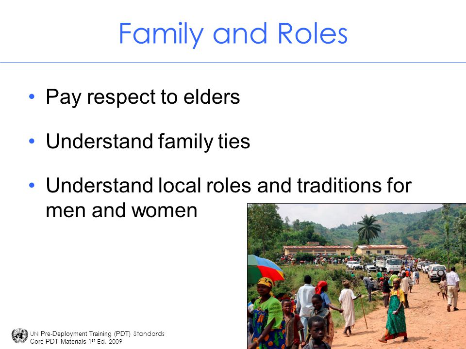 Family and Roles Pay respect to elders Understand family ties