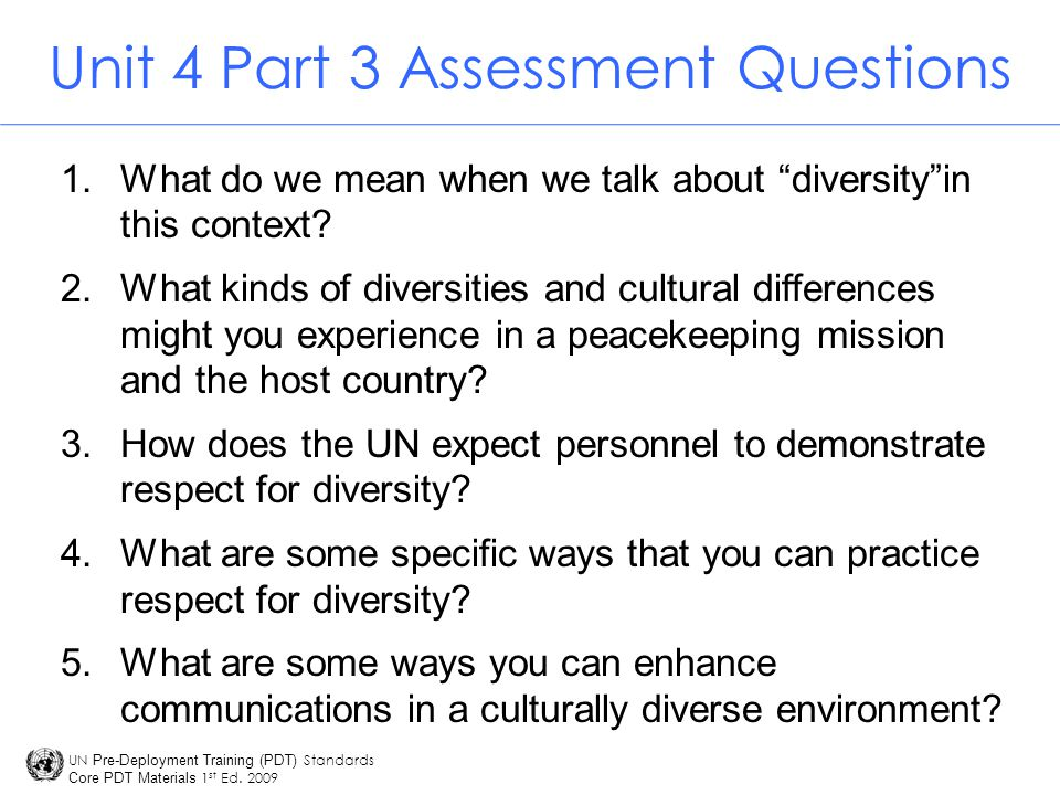 Unit 4 Part 3 Assessment Questions