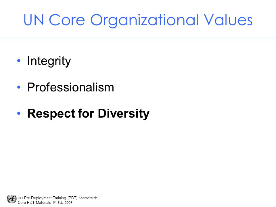 UN Core Organizational Values