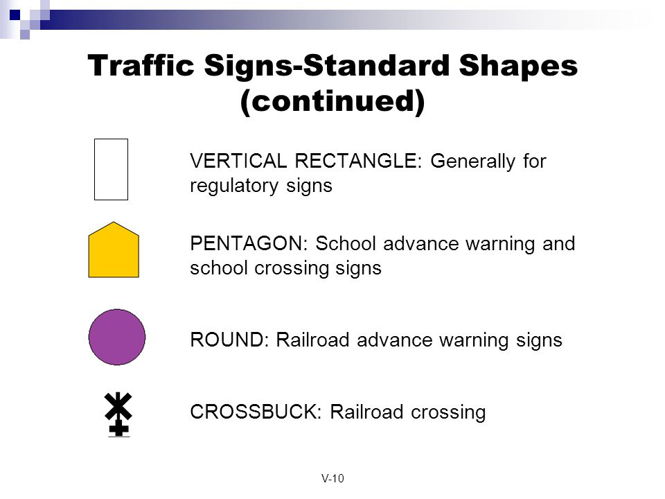 Traffic Signs-Standard Shapes (continued)