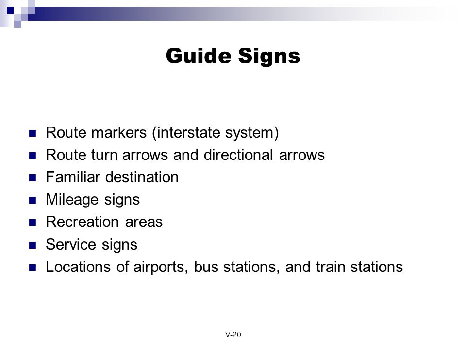 Guide Signs Route markers (interstate system)