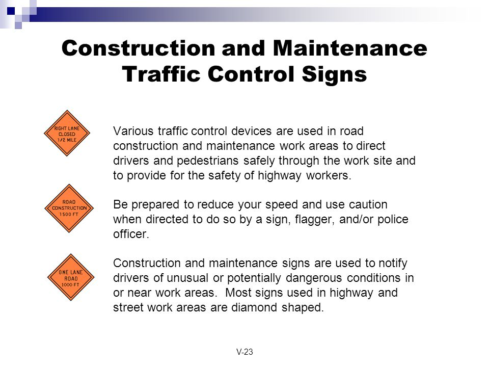 Construction and Maintenance Traffic Control Signs