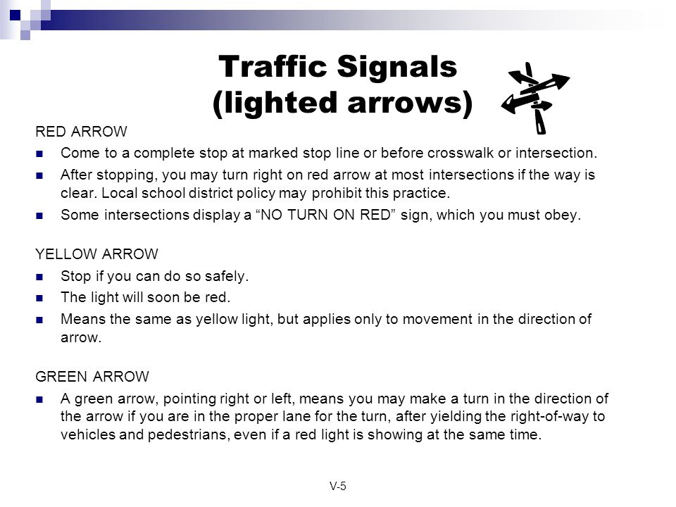 Traffic Signals (lighted arrows)