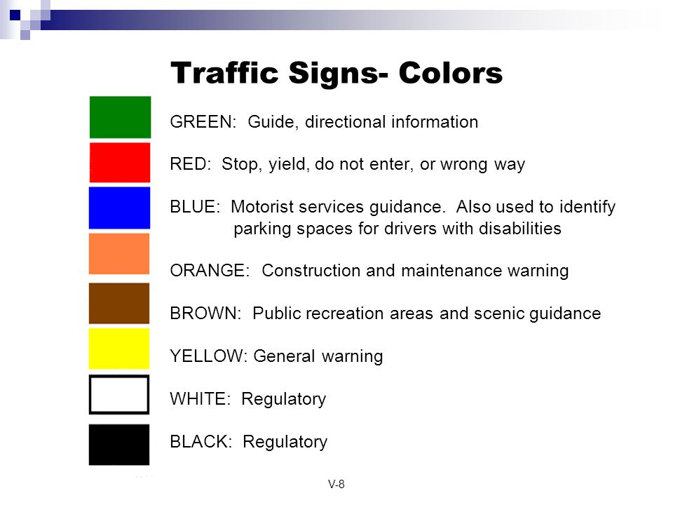 Traffic Signs- Colors GREEN: Guide, directional information