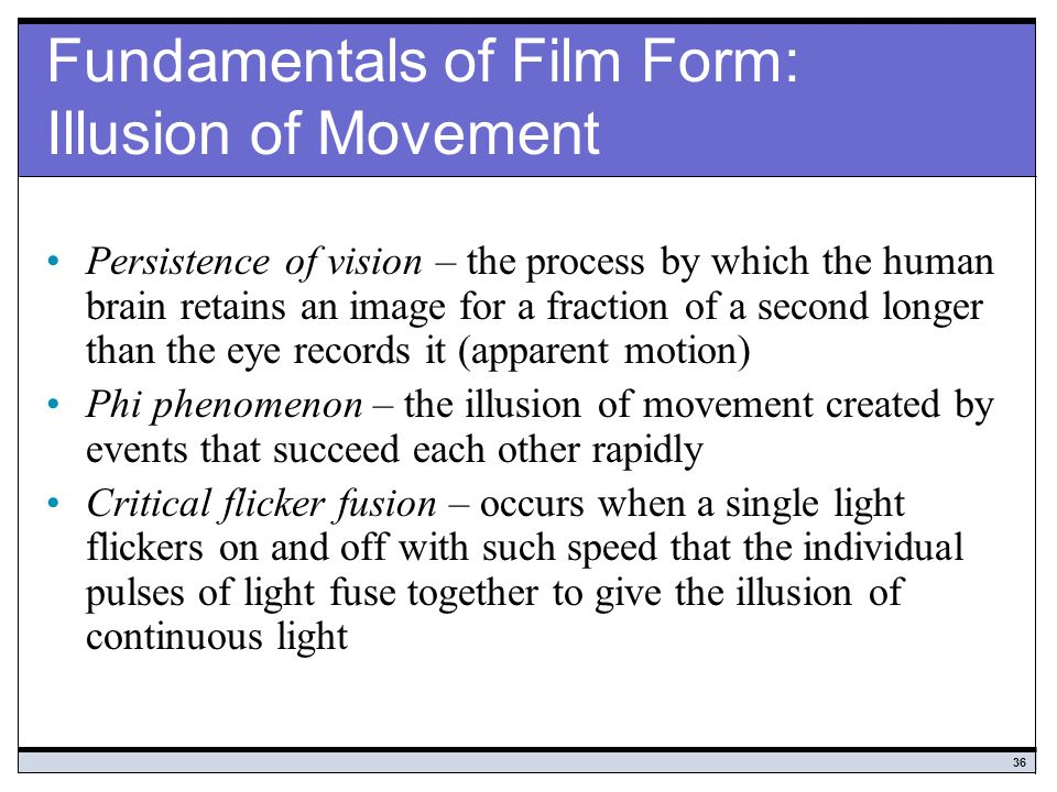 Fundamentals of Film Form: Illusion of Movement
