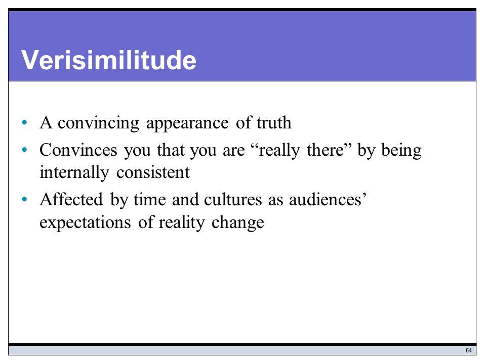 Verisimilitude A convincing appearance of truth