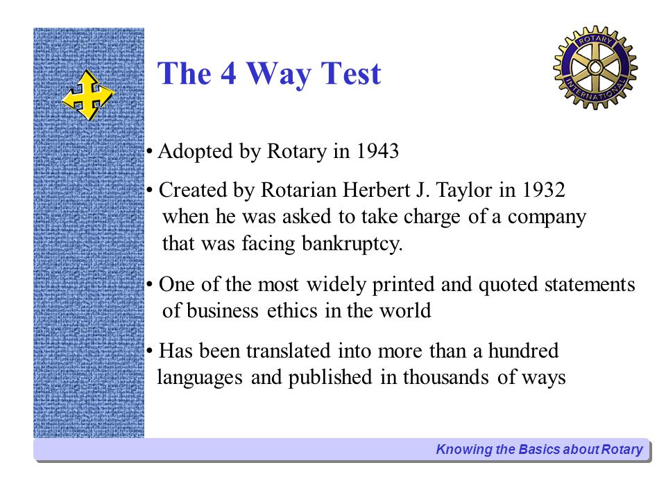The 4 Way Test Adopted by Rotary in 1943