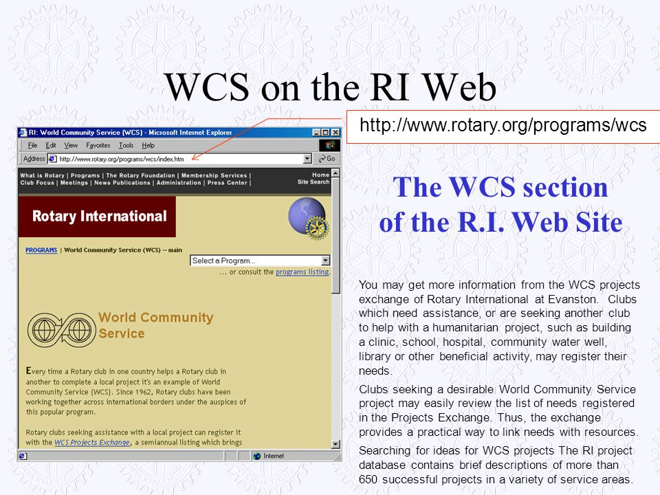The WCS section of the R.I. Web Site