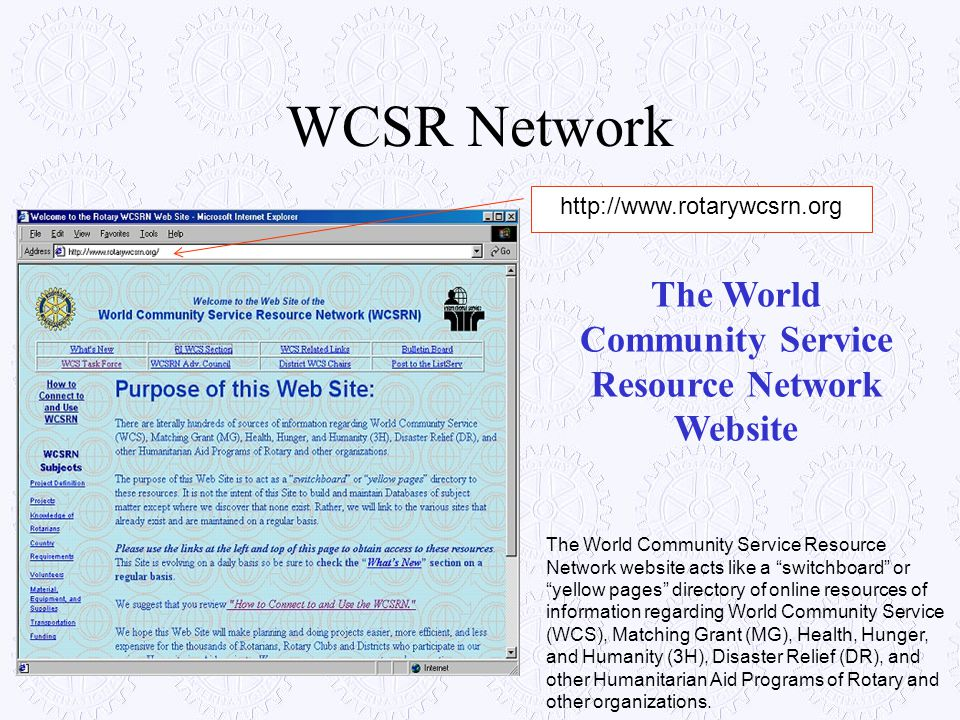The World Community Service Resource Network Website