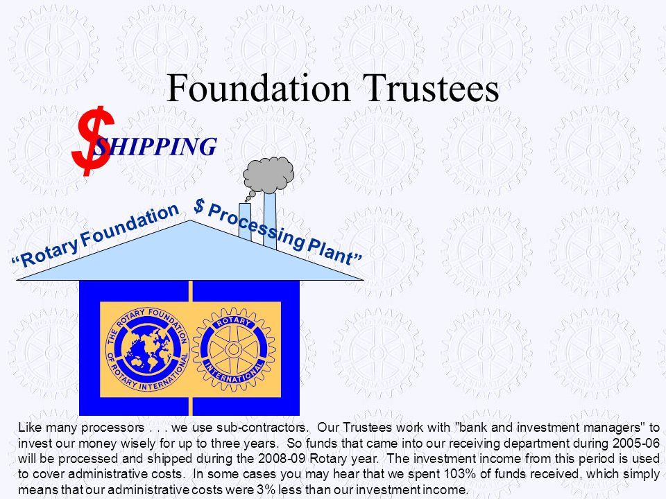 $ Foundation Trustees SHIPPING $ Processing Plant Rotary Foundation