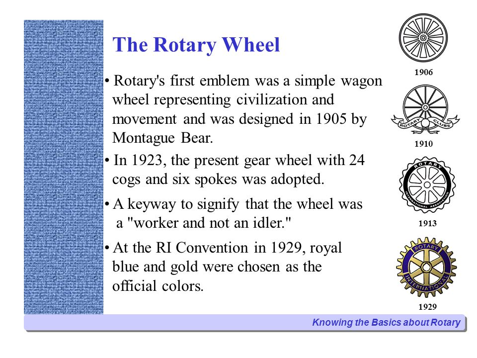 The Rotary Wheel Rotary s first emblem was a simple wagon