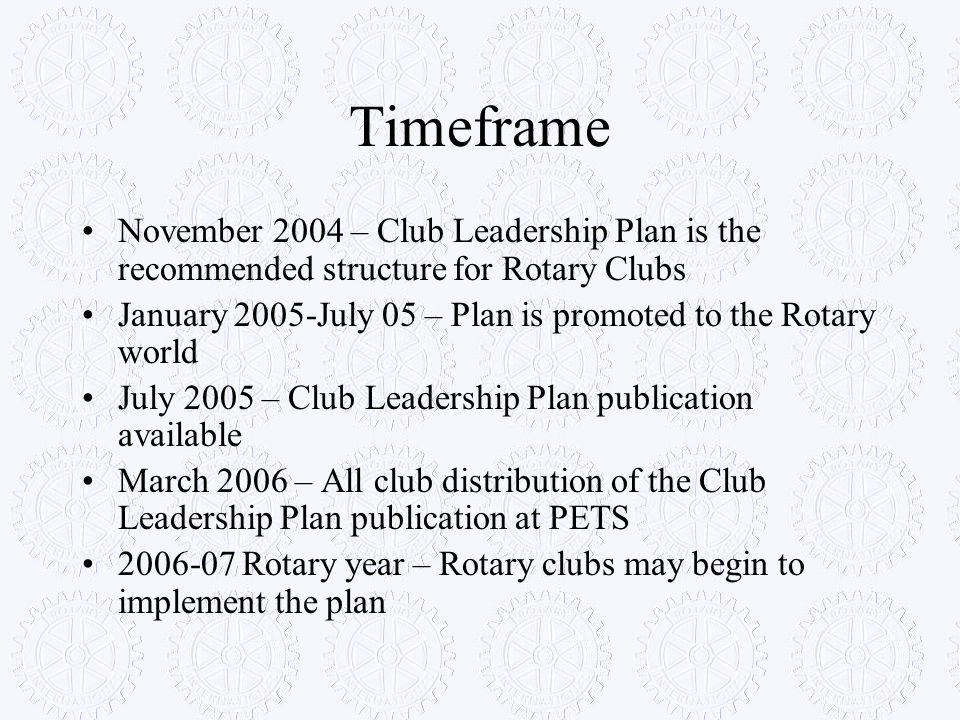 Timeframe November 2004 – Club Leadership Plan is the recommended structure for Rotary Clubs.