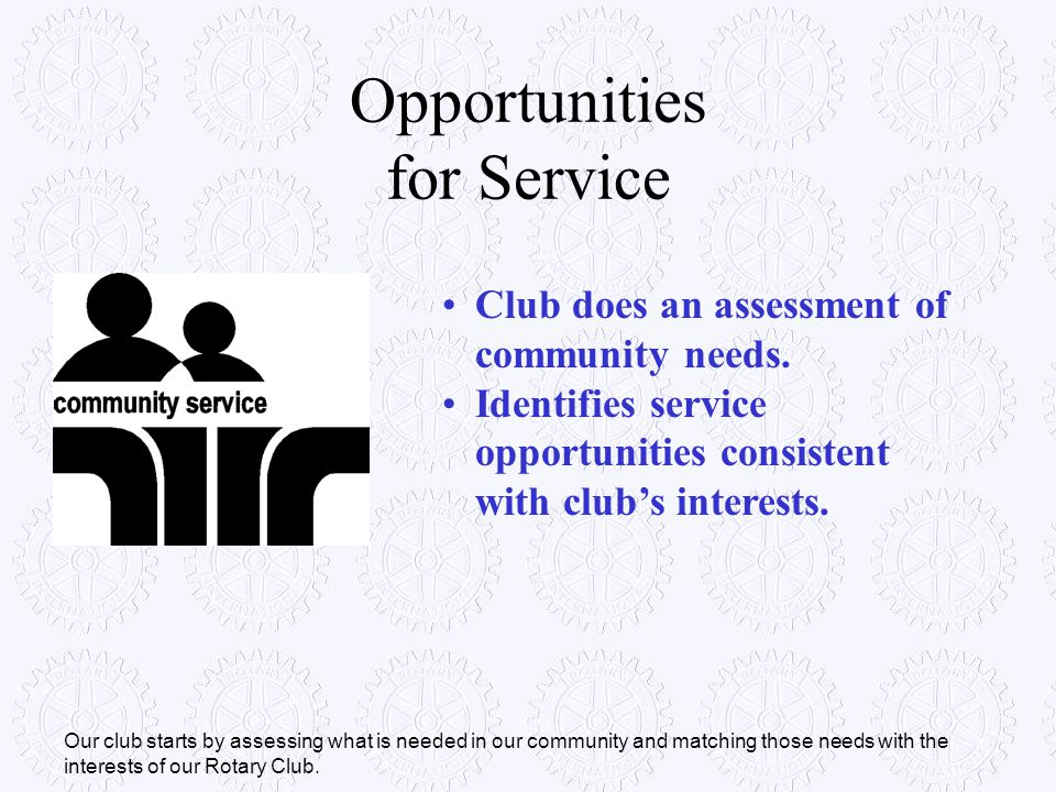 Opportunities for Service