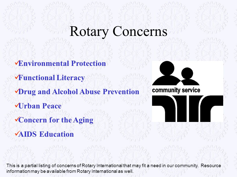 Rotary Concerns Environmental Protection Functional Literacy