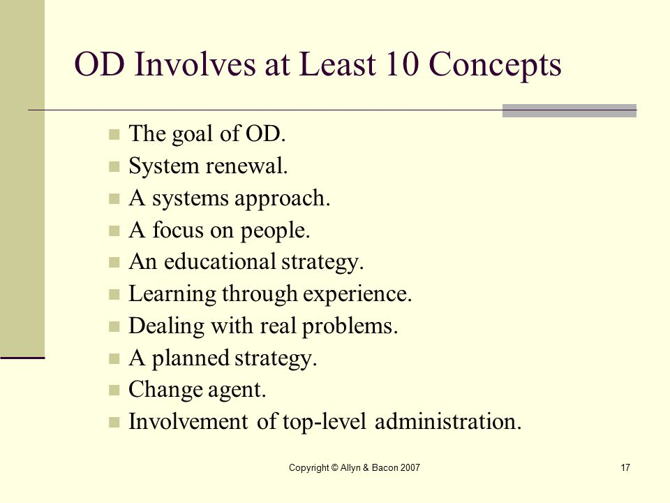 OD Involves at Least 10 Concepts