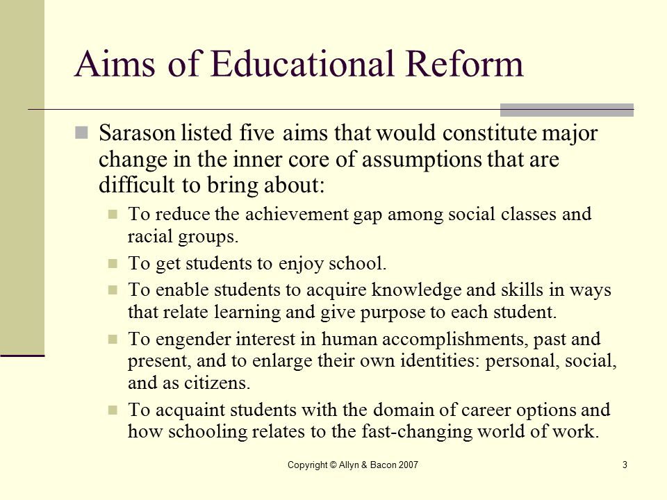 Aims of Educational Reform