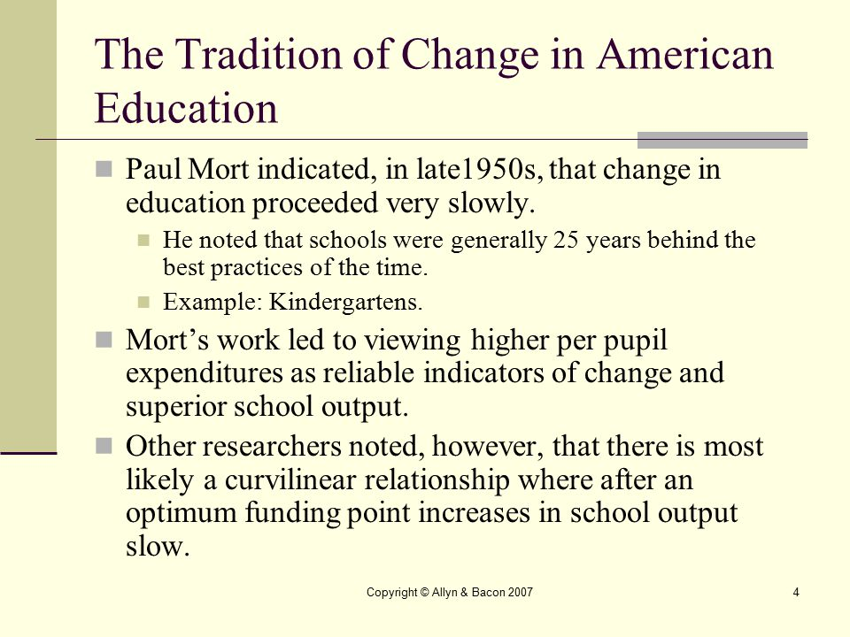 The Tradition of Change in American Education