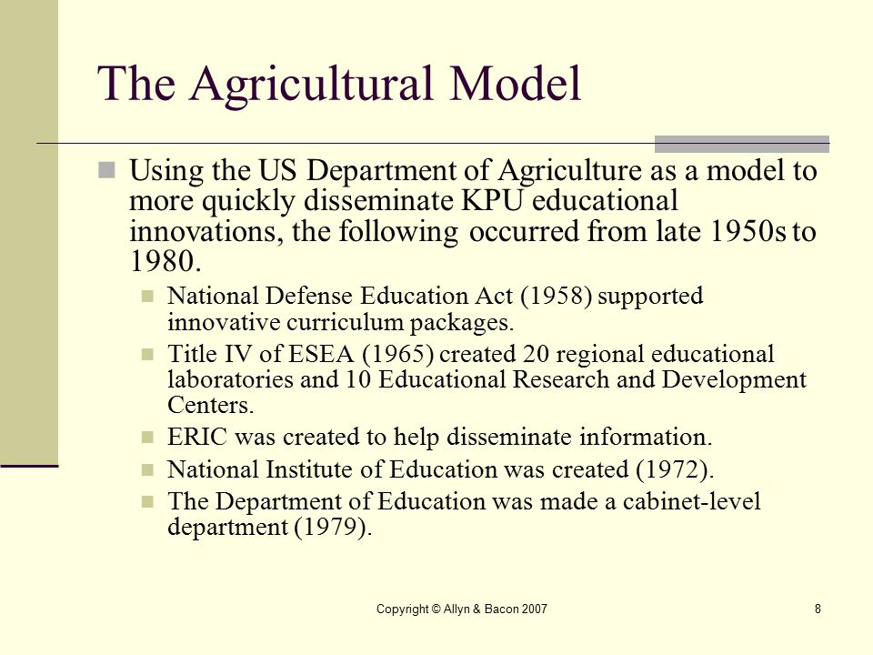 The Agricultural Model