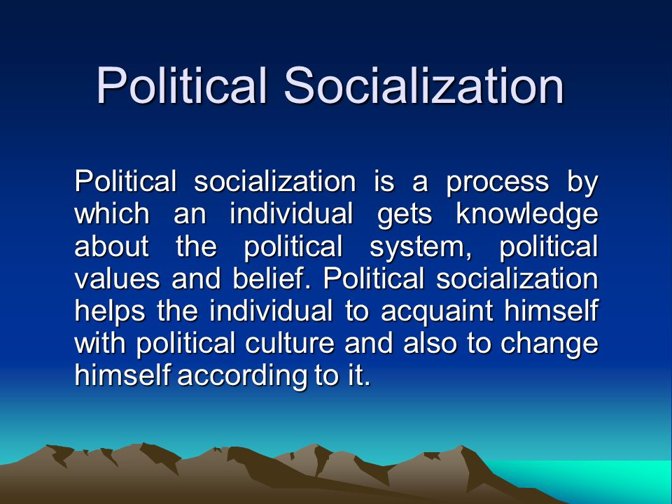 thesis political socialization An essay or paper on agents of political socialization people are not born with political ideas, nor do we manufacture them: we learn them through a process called political socialization.