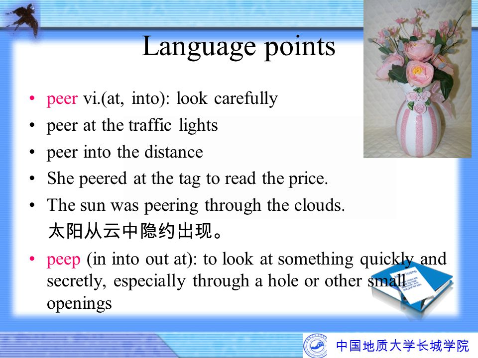Language points peer vi.(at, into): look carefully