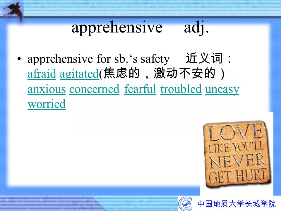 apprehensive adj. apprehensive for sb.'s safety 近义词:afraid agitated(焦虑的,激动不安的) anxious concerned fearful troubled uneasy worried.
