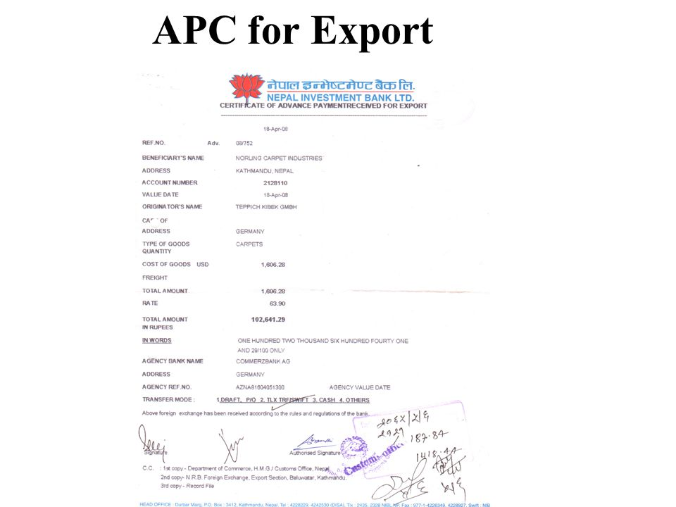 APC for Export