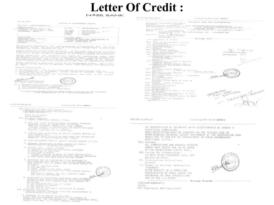 Letter Of Credit :