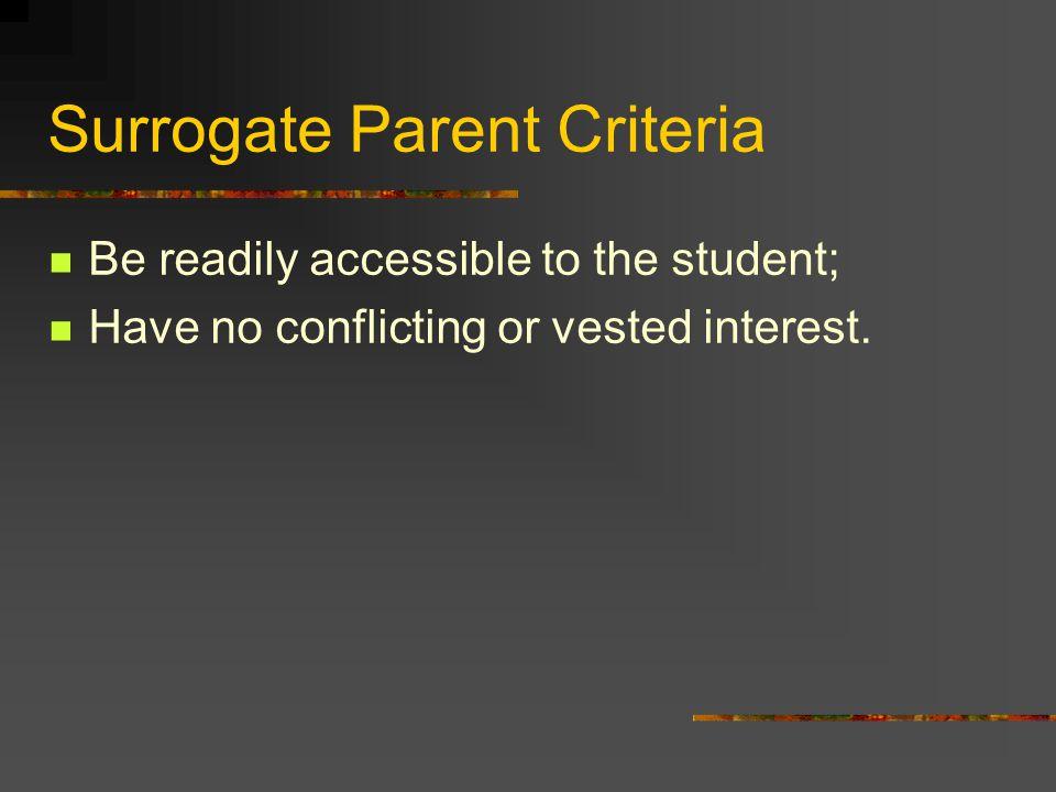 Surrogate Parent Criteria