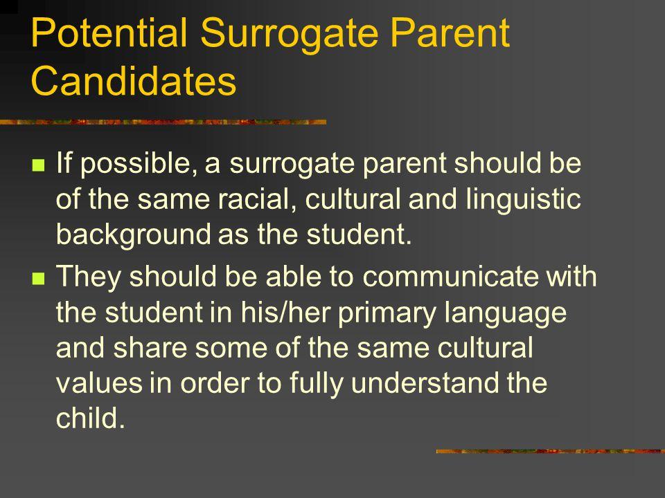 Potential Surrogate Parent Candidates