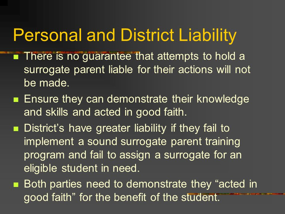 Personal and District Liability