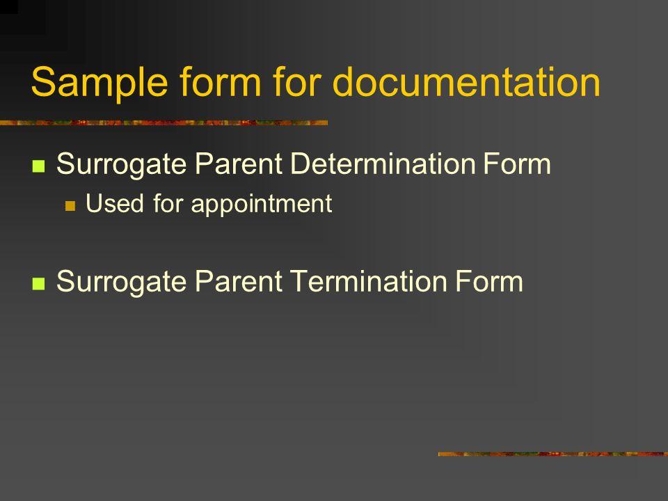 Sample form for documentation