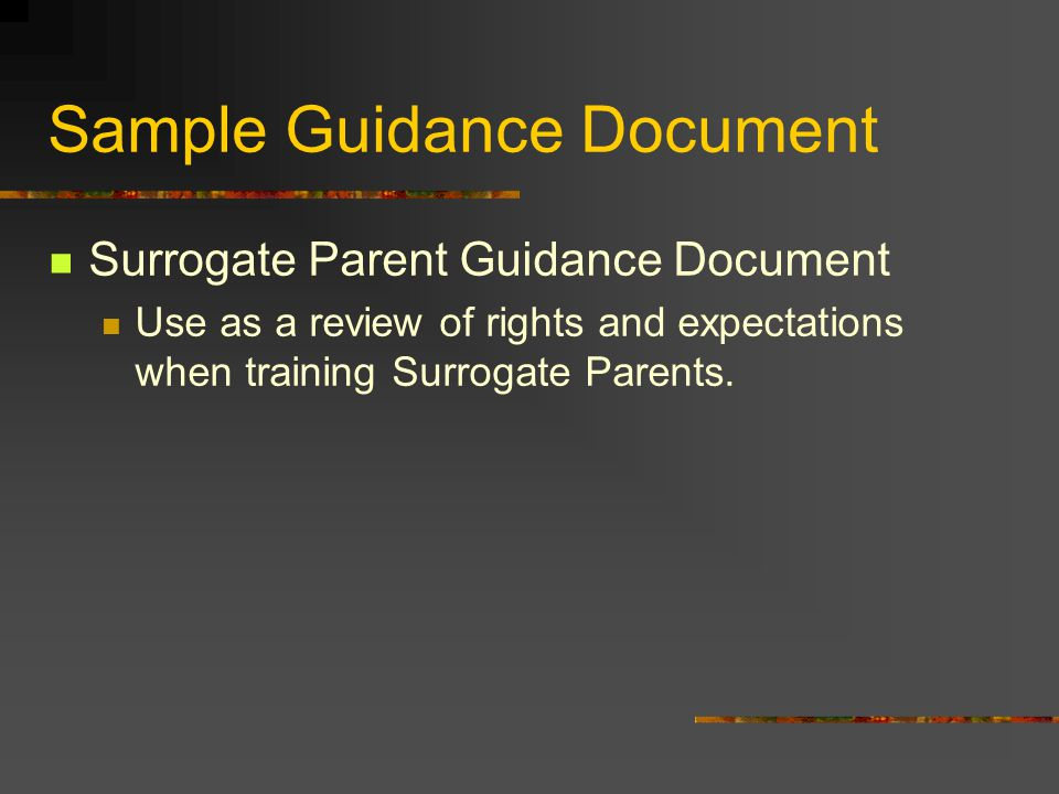 Sample Guidance Document