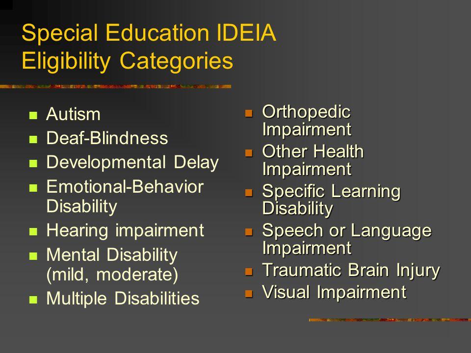 Special Education IDEIA Eligibility Categories