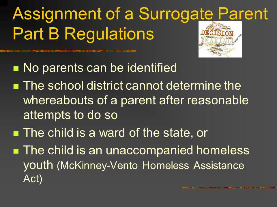 Assignment of a Surrogate Parent Part B Regulations