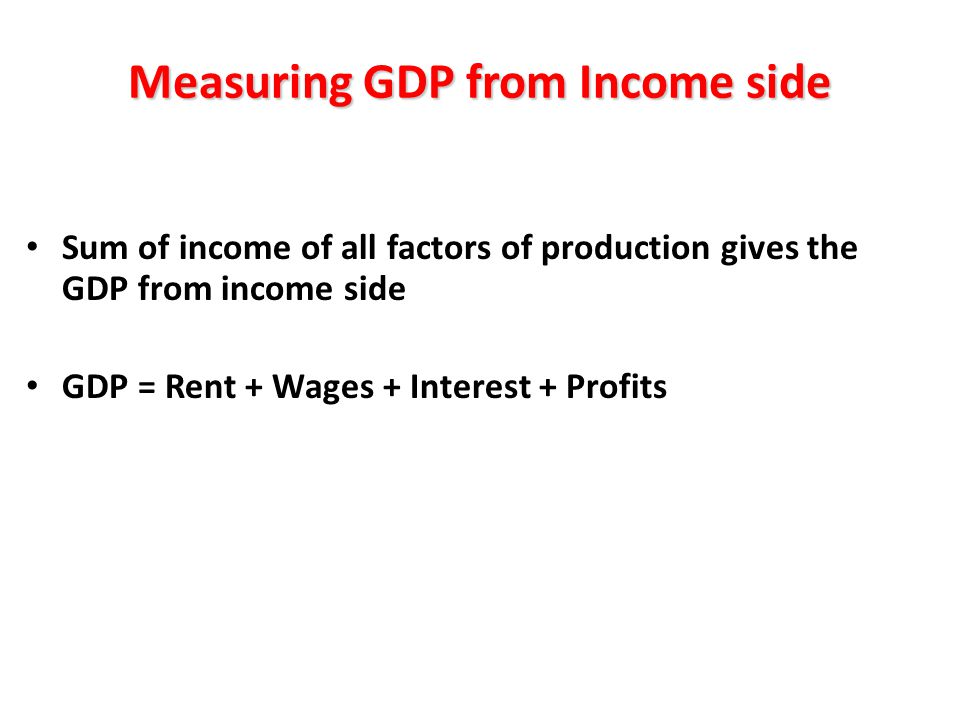 Measuring GDP from Income side